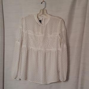 BCX long sleeve white blouse